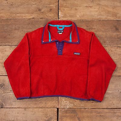 Children's Vintage Patagonia Snap T Fleece Jacket Red Age 14 R4964