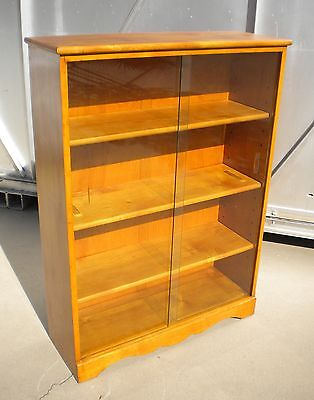 Vintage Solid Maple Wood Bookcase Display Cabinet with Sliding Glass Doors