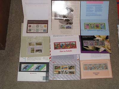 Australia-9 different Stamp Folios complete with stamps, Lot A2