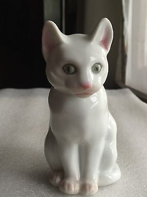 Vintage White Porcelain CAT Figurine - Made in GERMANY