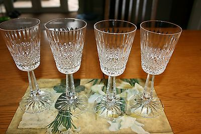 """4 Galway Vintage Crystal Claddagh Wine/water Glasses Signed 6.3/4"""" Tall Lovely"""