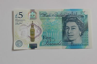 2016 - New Polymer Five Pound Note Aa01