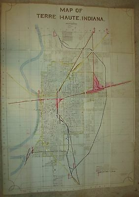 """Vintage  24"""" x 33"""" 1944 Linen Backed Railroad Map Terre Haute, Indiana"""