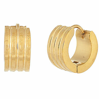 Gold-Tone Stainless Steel 14mm Ribbed Huggie Earrings
