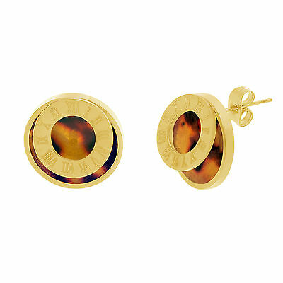 Gold-Tone Stainless Steel Tortoise Shell Double Circle Roman Numeral Earrings
