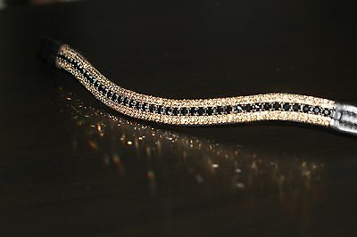 Equipride Diamante Bling Sparkly Browband 5 Row Crystals Dressage Black/Gold