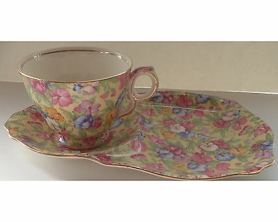 Vintage Royal Winton Sweet Pea Chintz Tennis Set Snack Plate & Cup