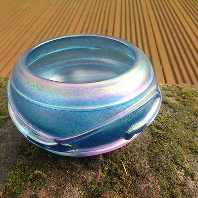 John Ditchfield Glasform Peacock Blue Ribbed Bowl Signed and Numbered
