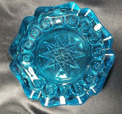 """Moon and Stars Colonial Blue Ashtray 8.5"""" Stunning Brilliant Color Vintage Glass"""