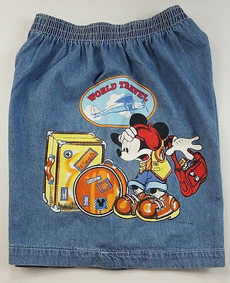 Vintage Disney Mickey Unlimited Shorts Jerry Leigh Denim Size M Elastic Waist