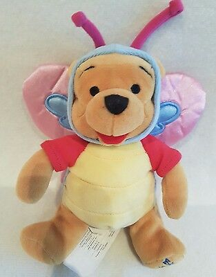 Disney Store EASTER BUTTERFLY WINNIE THE POOH NEW Beanie Soft Plush Toy