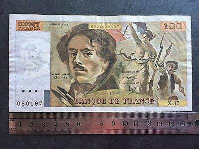 France 100 Francs 1980 Delacroix P#154.b