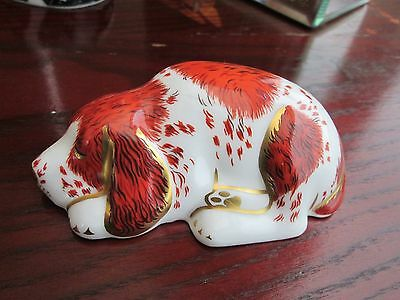 Royal Crown Derby Guild members Puppy 1st quality gold stopper