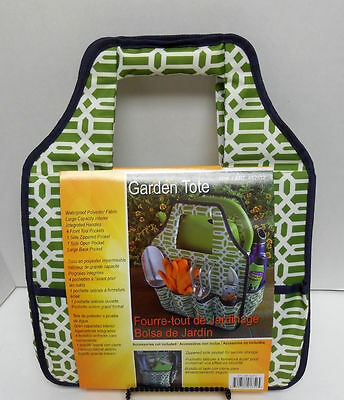 """NEW Seven Pocket Waterproof Polyester Garden Tote (14"""" X 12"""" X 8"""") Green/White"""