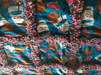 Handmade Baby Girl Rag Quilt Fannel Blue Mauve Cookies and Milk New