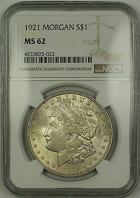 1921 Morgan Silver Dollar $1 Coin NGC MS-62 (15b)