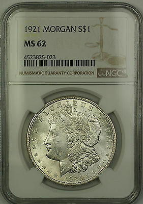 1921 Morgan Silver Dollar $1 NGC MS-62 (Better Coin) (15c)