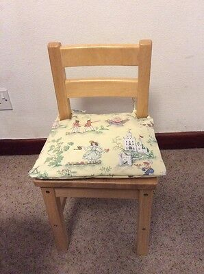 Childs Chair Pin Furniture Nursery Rhyme Fabric Seat New Cushion