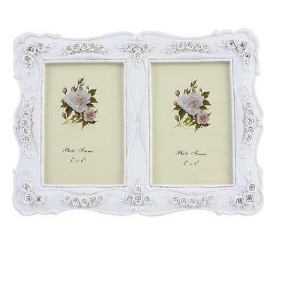 """White French Vintage Ornate Shabby Chic Picture Photo Frames double 6"""" X 4""""inch"""