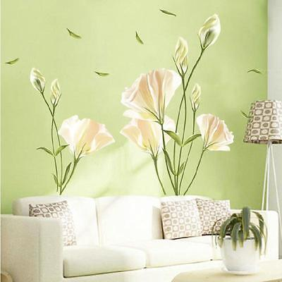 Removable large lily flower Home living room Mural Art Decal Wall Stickers    6#