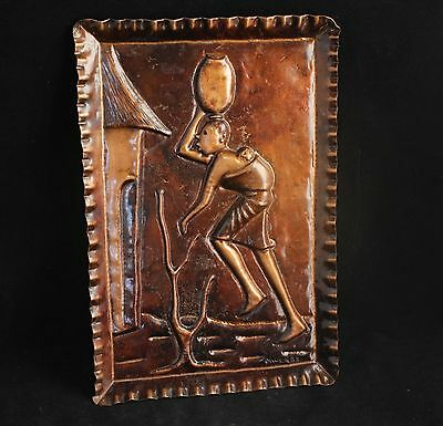 "Vintage Copper Wall Art Plaque - Signed ""M. Wenge"" - African"