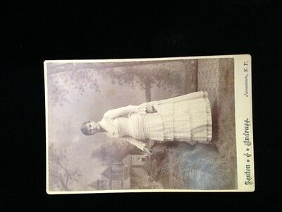 Antique Cabinet Photo Card of Victorian Young Woman ~ Sephia