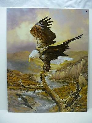 """Eagle Perched on Branch Tin Metal Sign 12 1/2"""" x 16"""" New"""