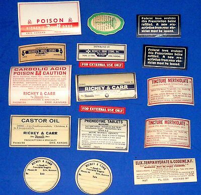 Lot of Vintage or Antique RX Gummed Labels - Rexall, Poison, Caster Oil, +++