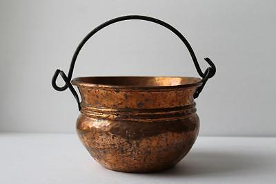 Vintage Primitive Hammered Copper Cauldron Small Pot