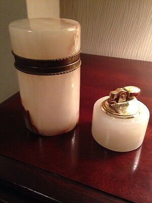 Onyx Table Lighter And Cigar Holder