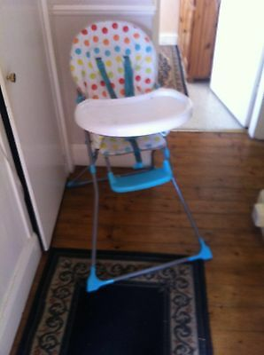 Boys Blue Spotted High Chair With Cup Holder