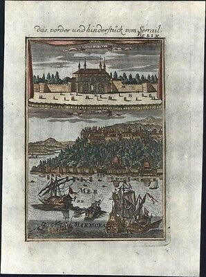 Palace Serrail Constantinople Istanbul Turkey Bosphorus 1719 nice antique print