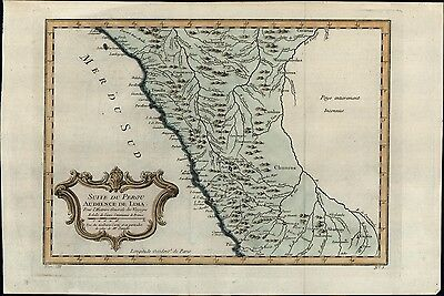 Peru Lima Andes Mountains South America unknown 1756 Bellin antique color map