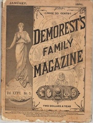 Demorest's Monthly Magazine  January 1891,  Great stories prints and engravings
