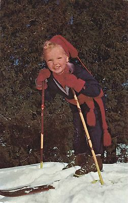 Postcard Young Boy's SKIING FASHIONS CANADA 1950-60s National Film Board Photo