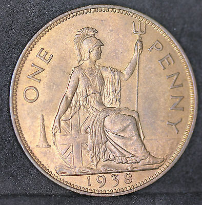UK. George VI Bronze Penny, 1938. Brilliant Uncirculated. BUNC