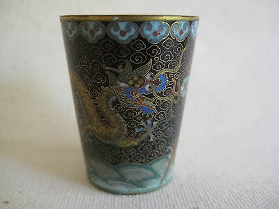 Chinese cloisonne dragon toothpick match stick holder or shot cup
