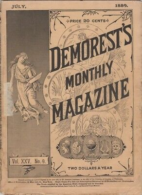 Demorest's Monthly Magazine  July 1889,  Great stories prints and engravings