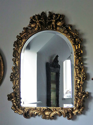 Antique Gold Ornate Arch Shape Cherub Cupid French Style Bevelled Wall Mirror