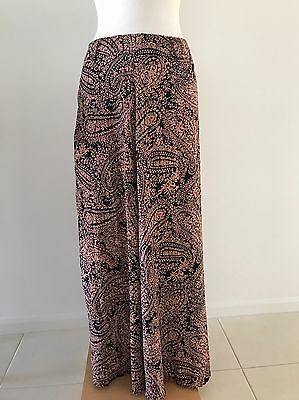 Peach And Black Maxi Skirt Size 10
