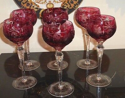 6 Nachtmann Marked Traube Ruby Red Cranberry Cut To Clear Crystal Wine Goblets