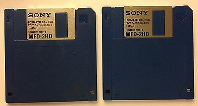 """Two 3.5"""" 1.44MB formatted Sony HD floppy disks"""