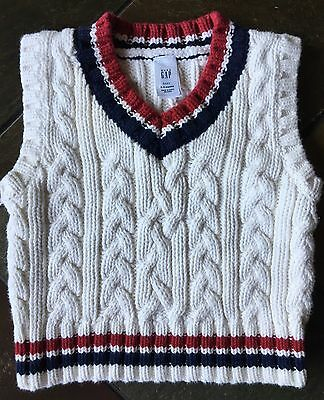 Gap sweater vest size 3 6 Months Holidays Cable Knit White Baby Boys Gapkids