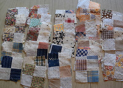 106 small 1890-20's 4 Patch quilt blocks, huge variety of beautiful prints