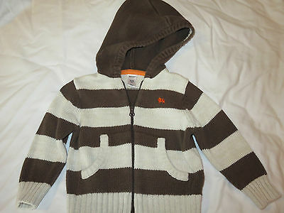 Old Navy Toddler Boy 18-24 Month Brown & Beige Striped Hoodie Sweater Zip-up