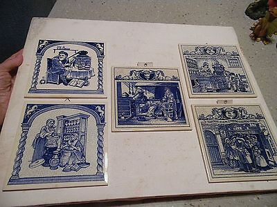 "Collection of 5 Vintage Pharmacutical 6"" Decorative Historical CeramicTiles"
