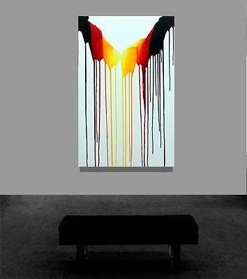 Large Abstract Original Black White Red Yellow Art Signed Painting Tara Baden