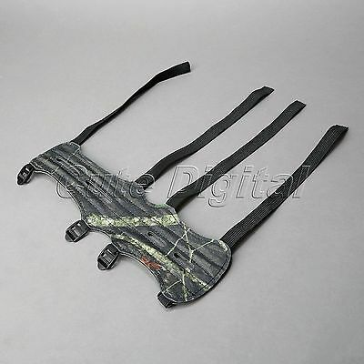 Compound Bow Shooting Archery 4 Strap Adjustable Leather Arm Guard Camouflage