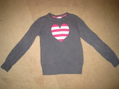Girls OLD NAVY Solid Gray w/ Pink & White Heart Pullover Sweater sz L (10/12) EC