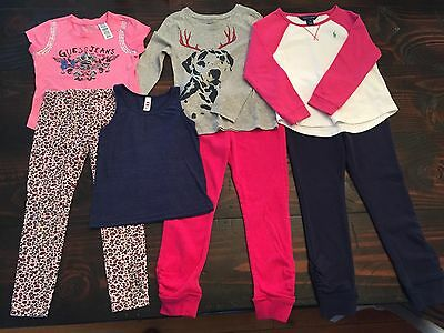 Girls Size 5/6 School Play Clothes Brand Lot 7 pcs Mix&Match RL Guess Gap